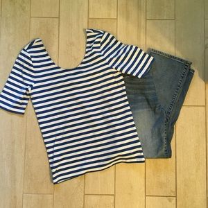 Ralph Lauren blue and white striped top, med